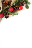 Christmas Bulb, Pinecone and Evergreen Border Isolated on White Royalty Free Stock Photography