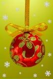 Christmas bulb with snoweflakes Stock Image