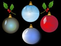 Christmas Bulbs. Four Christmas ornaments with sprigs of holly.Background is on a work path Royalty Free Stock Photo