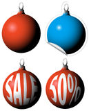 Christmas bulbs as a sale tags. / labels royalty free illustration