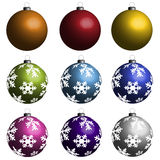 Christmas bulbs. Collection of nine Christmas bulbs Royalty Free Stock Photos