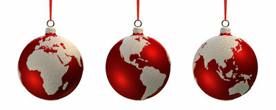 Christmas Bulbs With Continents Royalty Free Stock Images