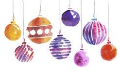 Christmas bulbs hand made watercolor illustration. Stock Photo