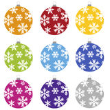 Christmas bulbs. Nine christmas bulbs with snowflakes set Royalty Free Stock Photo