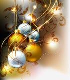 Christmas bulbs with ornament. Royalty Free Stock Photos
