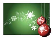 Christmas bulbs with snow Stock Photography