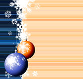 Christmas bulbs with snow Stock Images