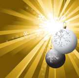 Christmas bulbs with snowflakes Stock Images