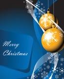 Christmas bulbs & snowflakes Stock Images