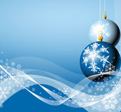 Christmas bulbs & snowflakes Stock Photo