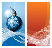 Christmas bulbs & snowflakes Stock Photography