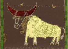 Christmas bull. Stock Photo