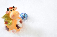 Christmas bull-calf Stock Photography