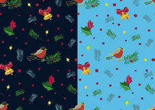 Christmas bullfinch and bell pattern set. In blue. Vector Royalty Free Stock Images