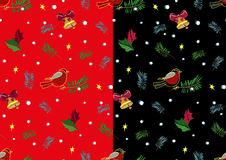 Christmas bullfinch and bell pattern set. Vector. Christmas bullfinch and bell pattern set in black and red. Vector Royalty Free Stock Photos