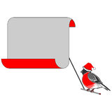 A Christmas bullfinch with a big blank paper for c Royalty Free Stock Photo