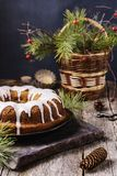 Christmas Bundt Cake with icing Royalty Free Stock Photos