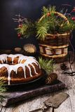 Christmas Bundt Cake with icing Royalty Free Stock Photo