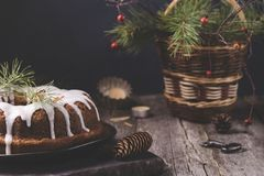 Christmas Bundt Cake with icing Royalty Free Stock Photography