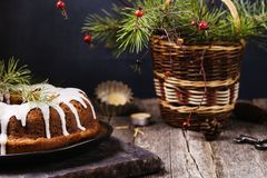 Christmas Bundt Cake with icing Stock Photo