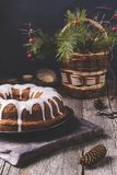 Christmas Bundt Cake with icing Stock Images