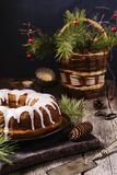 Christmas Bundt Cake with icing Royalty Free Stock Image