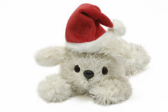 Christmas bunny. Plush bunny with santa hat over white background Royalty Free Stock Image