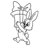 Christmas bunny gifts Coloring page. Contour illustration cartoon Stock Photography