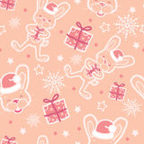 Christmas bunny with gifts seamless pattern Royalty Free Stock Photos