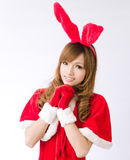 Christmas bunny  girl japanese style. Is a Christmas bunny  girl japanese style Stock Image