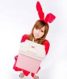 Christmas bunny  girl japanese style gift box Royalty Free Stock Images