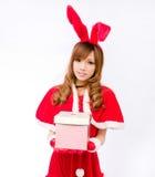 Christmas bunny  girl japanese style gift box Stock Photo