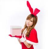 Christmas bunny  girl japanese style gift box. Is a Christmas bunny  girl japanese style Stock Photos