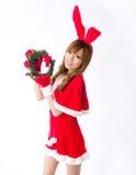 Christmas bunny  girl japanese style gift box. Is a Christmas bunny  girl japanese style Stock Photo