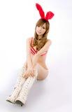 Christmas bunny  girl japanese style gift box Stock Photos