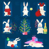 Christmas bunny set Stock Images