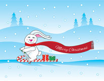 Christmas bunny skiing. While delivering presents on candy cane skis Stock Images