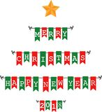 Christmas bunting flags Royalty Free Stock Image
