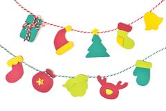 Christmas bunting paper cut on white background Royalty Free Stock Photo