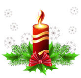 Christmas burning candle Royalty Free Stock Image