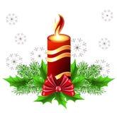 Christmas burning candle vector illustration