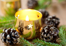 Christmas burning candle Stock Image