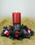 Christmas burning candle Stock Photography