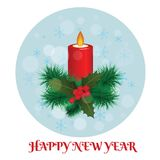 Christmas burning candle with Christmas tree branches and mistle. Toe Royalty Free Stock Images