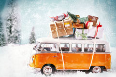 Christmas bus with gifts, for a greeting card maybe. Many presents or gifts on a car driving to christmas party Royalty Free Stock Photography