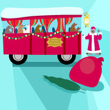 Christmas bus and Santa bear royalty free stock images