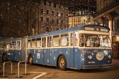 Christmas bus in Zurich Royalty Free Stock Photography