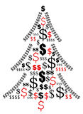 Christmas business. Christmas tree made of dollar signs - expensive Xmas shopping. Vector illustration Royalty Free Stock Photos