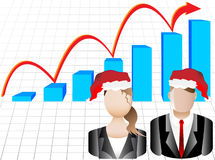 Christmas Business Chart and Avatars Illustration Royalty Free Stock Photos