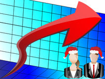 Christmas Business Chart and Avatars Illustration Stock Photo